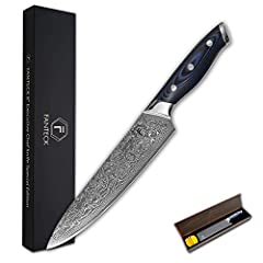 [ULTRA SHARP 8 INCHES DAMASCUS CHEF KNIFE]: V-sharp edge accurately hand sharpened to 10-15°per side for an effortless slicing experience. This razor sharp chef knife is suitable for chopping, mincing, slicing and dicing any fruit, fish, meat, sushi ...