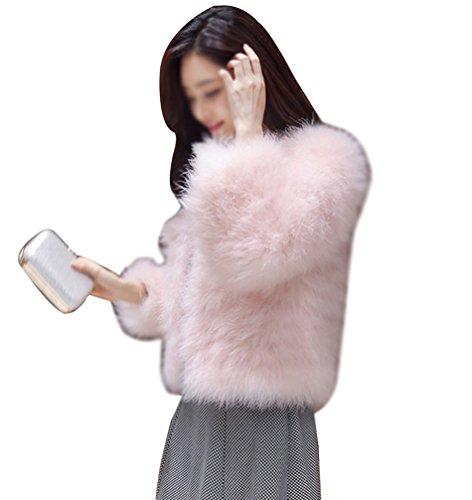 LaoZan Elegante Abrigo Corto de Piel sintética de Pelo del Invierno Parka de Las Mujeres