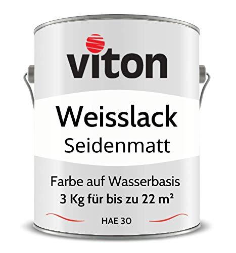 VITON Weisslack - 3 Kg - Seidenmatt - Premium Weißlack - Höchste Beständigkeit & Deckkraft - Alle Oberflächen - 2in1 Grundierung & Farbe - Türlack, Fensterlack, Fensterfarbe, Heizungslack - HAE 30