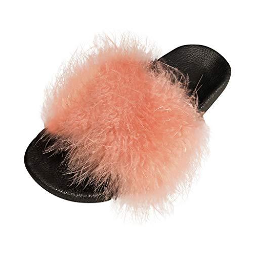 Bluestercool Pantoufles Femmes Chausson Peluche Slippers Sandales Fausse Fourrure Bout Ouvert Accueil Chaussures 2020 Nouveau Chic Slipper (36-41)
