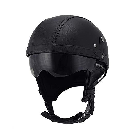 LUNANA Retro Motorrad Lederhelme, ECE Zertifiziert, mit Visier Vintage Style Motorrad Fahrrad Roller Halber Helm, Atmungsaktives Polster Waschbares (57-62CM)