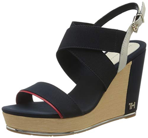Tommy Hilfiger Damen TH Hardware Basic HIGH Wedge Zehentrenner, Blau (Desert Sky Dw5), 40 EU