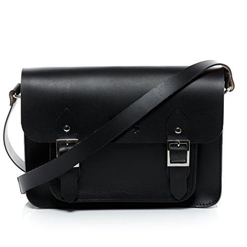 SID & VAIN Satchel echt Sattel-Leder Tessa College-Tasche iPad Umhängetasche Ledertasche Damen schwarz