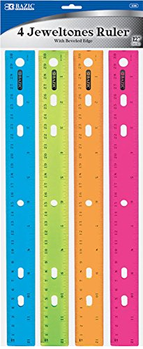 BAZIC Jeweltones Color Ruler, 12 Inches, 1 Pack of 4 Rulers