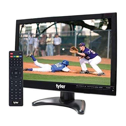 """Tyler 14"""" Portable TV LCD Monitor 1080P Rechargeable Lithium Battery Operated, 3 Antenna, HDMI, SD, USB, RCA, FM Radio, Digital Tuner, AV Inputs, AC/DC, TV Stand and Remote Control For Kids Car Travel"""