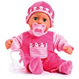 Bayer Design 9380003 Babypuppe First Words mit Schlafaugen, 24 Babylaute, 38 cm, pink