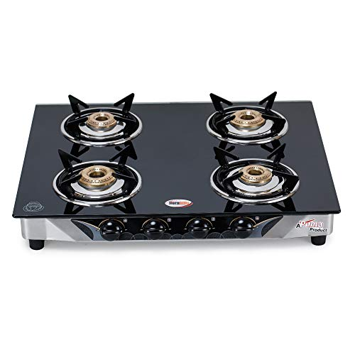 Hornbills PNG Fitted 4 Burner Stainless Steel Body with Heavy 3d Pansupport Gas stove ISI Certified- 1 Year Warranty