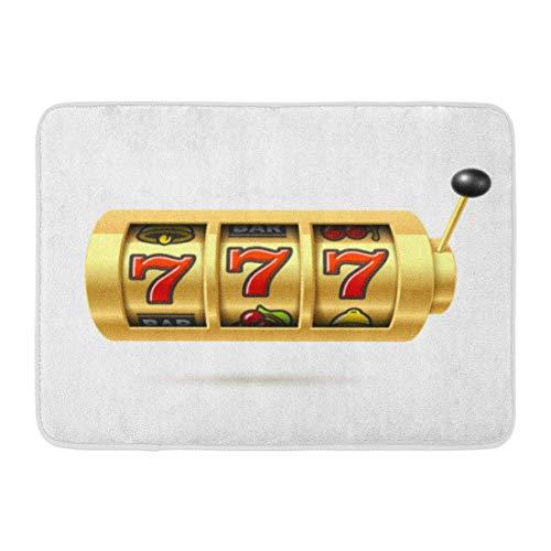 Kanaite Alfombras de baño Alfombras de baño Alfombrilla para Puerta Exterior/Interior Casino Slot Lucky Sevens Jackpot 777 Símbolo Bingo Win Spin Decoración de baño Alfombra Alfombra de baño