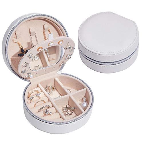 Mini organizador de caja de joyería, cuero sintético pequeño viaje caja de almacenamiento de joyería anillos pendientes collar pulseras joyería caja de regalo para niñas mujeres-Blanco (con espejo)