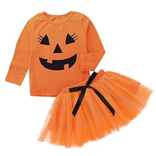 Tefamore 1-5 años Niña Disfraz Halloween Manga Larga Calabaza Impresión Tops+ Tutu Falda Corta (Naranja, 24 Meses)