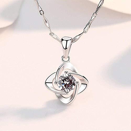 N\C S999 Colgante de Plata con Colgante de la Suerte Collar de trébol Joyas de Plata Día de San Valentín Día de la Madre