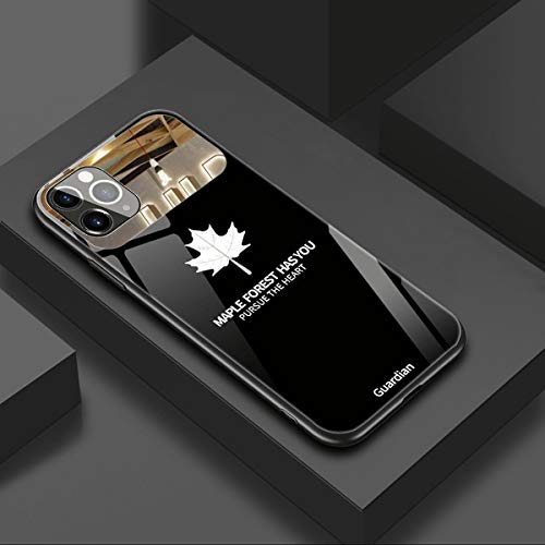 DoreenAbe Luxury Makeup Mirror Mobile Phone Case for iPhone 11/12 Pro MAX, Romantic Maple Leaf Tempered Mirror Glass Phone Case, HD Anti-Scratch Mirror Phone Case (for iPhone 12 Pro,Black)