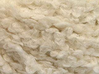 Cream White Boucle Yarn - Ice Soft Acrylic, Nylon Blend, 50 Gram, 60 Yards