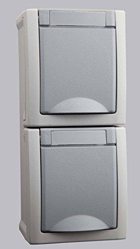 Opbouw Schuko stopcontact 2-voudig verticaal grijs geschikt voor vochtige ruimtes