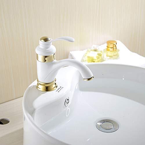 LCBLC Weiße Badezimmer-Becken-Wasserhähne Kaltes Und Heißes Wasserhahn-Waschtisch-Waschbecken-Mischbatterie-Kupfer-Teekannen-Form-Wasserhähne