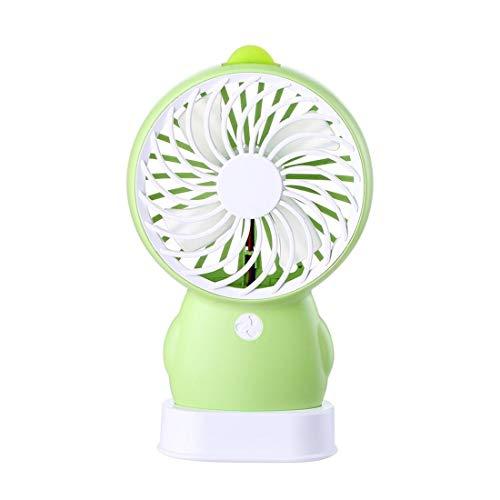 SUIWO Hand Held Fan Bureau fan draagbare USB-ventilator Mini Tafel Ventilatoren Fan USB mini-cartoon Desktop Outdoor Silent met twee snelheden Wind Fan (Color : Green)