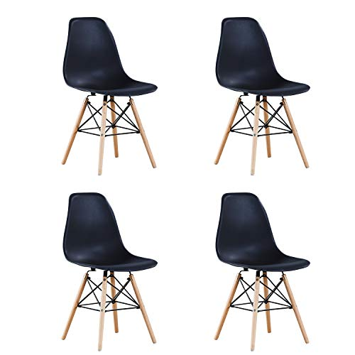 BenyLed 4er-Set Kunststoff Stuhl Polypropylen und ausBuchenholz, Wohnzimmerstuhl Esszimmerstuhl Bürostuhl, Schwarz
