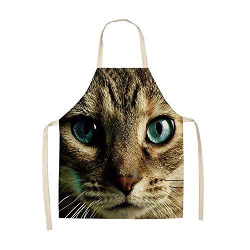 Henanyimeixiang Koch 1Pcs Dog Owl Cat Tiger gedruckte Küche Schürze Ärmel Baumwolle Leinen Schürzen for Kochen Reinigungswerkzeuge 53 * 65cm (Color : F)