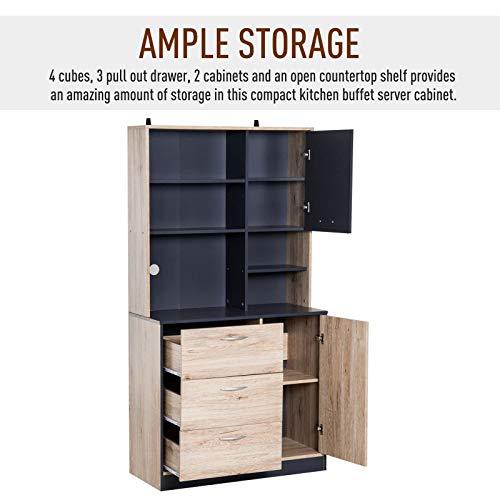 Generic Sto Storage Cabinet d Kitc Carrello in legno nero da cucina