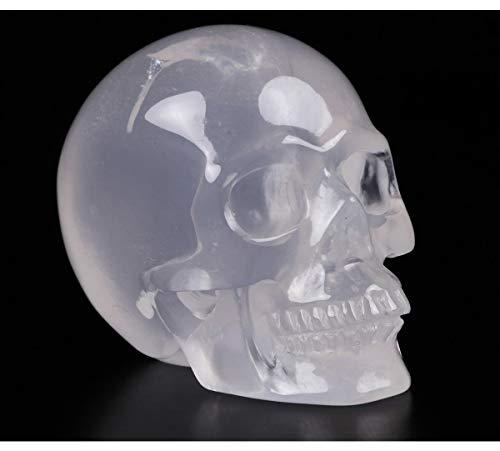 Skullis 2.0' Milky Quartz Crystal Skull, Hand Carved Gemstone Fine Art Sculpture, Reiki Healing Stone Statue.