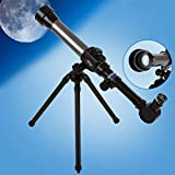 Telescope for Kids The Child Science Kits for Kids Portable Telescopes for Astronomy Gifts for Kids Beginners with 3 Magnification Eyepieces Tripod Hobby Kids Toys (Black)