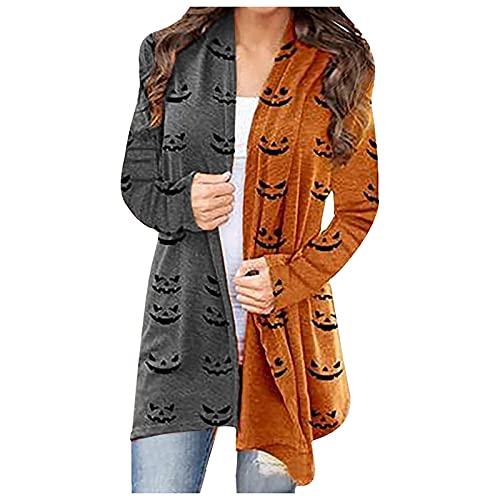 NHNKB Cárdigan - Disfraz de Halloween para mujer, chaqueta larga y fina, bolero para otoño, cárdigans abierto, sudadera con capucha, chaqueta de hombro, camiseta informal, Sty1-b, XL