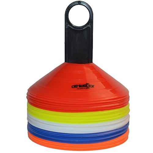 Markierungshütchen - Markierungsteller 50'er Set, gelb, weiß, blau, rot, orange von athletikor