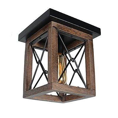 Baiwaiz Mini Square Rustic Ceiling Light Fixture, 1-Light Black Metal and Wood Farmhouse Flush Mount Cage Light Industrial Small Close to Ceiling Lighting Edison E26 102