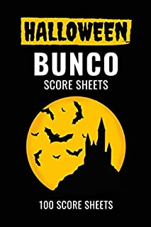 Halloween Bunco Score Sheets: 100 Scoring Pads for Bunco Players, Bunco Score Cards, Score Keeper Tracker Game Record Notebook, Gift Ideas for Bunco ... with Scary Castle and Bats, Handy Size 6 x 9