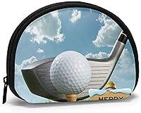 クロスゴルフボールとゴルフクラブクリスマスコイン財布スモールジッパーウォレットバッグチェンジポーチミニコスメティックメイクアップバッグオーガナイザー多目的ポーチ