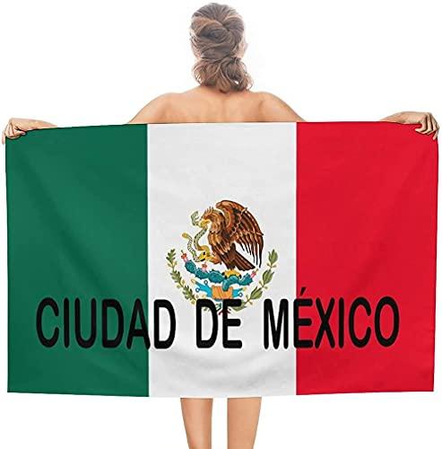 LUYIQ Mikrofaser Strandtuch,Stadt mit Mexiko-Flagge,groß 130x80 cm,Tragbar Sand Proof Ultraleicht,Strandtuch Bunt für Männer & Frauen,Super Saugfähig Schnell Trocknend