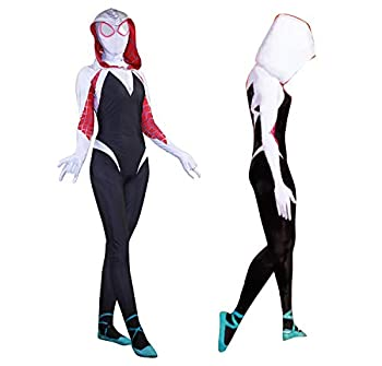 "Gwen Stacy Cosplay Costume Into The Spider Verse Spider-Gwen Costumes Halloween Bodysuit  Adult-XL 5'5""-5'7""  GWEN"