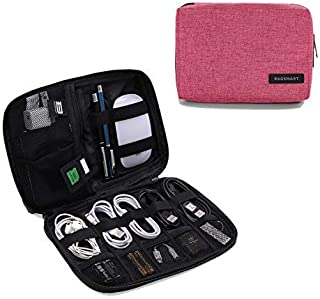 BAGSMART Electronic Organizer Small Travel Cable Organizer Bag for Hard Drives, Cables, Charger, USB, SD Card Pink BM0200082A024-FUS