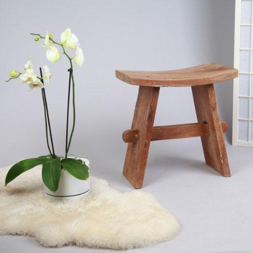 wohnfreuden Teakhouten kruk 30x50x50 cm teakkruk hout decoratie bijzettafel Schemel zitmeubel