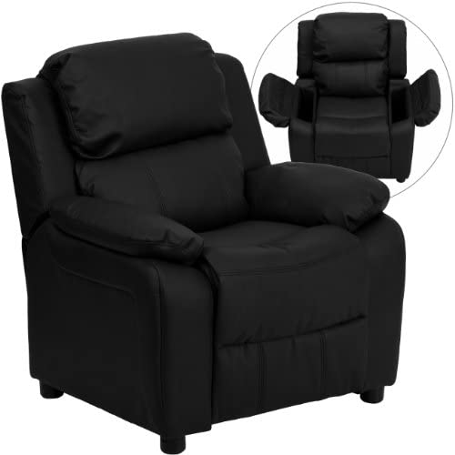 Best Flash Furniture Deluxe Padded Contemporary Black Leather Kids Recliner with Storage Arms