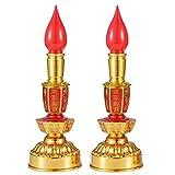 Led Retro Chinese Candle lamp Vintage Style Retro Nostalgic Ancient Chinese Style Buddhist Supplies - 1 Pair