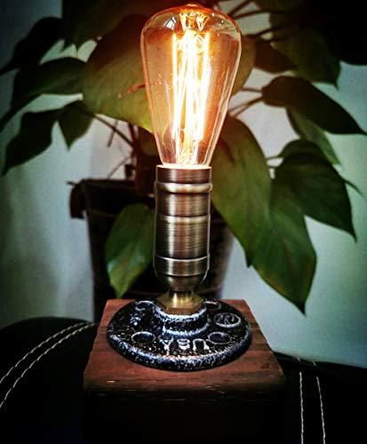 JINYU Vintage Weathered Wood Table Lamp, Wooden Base Retro Industrial Steampunk Iron Pipe Desk Light for Bed, Bedroom Living Room, Dining Room, Cafe Bar, Studio, Hallway, Home Decor, E14 220V, No Bulb