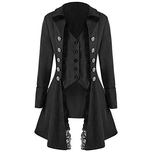 Amphia Mantel- Herren Mantel Frack Jacke Gothic Gehrock Uniform Kostüm Praty Outwear Normallack Mode Steampunk Punk Retro Männer Uniformkleid