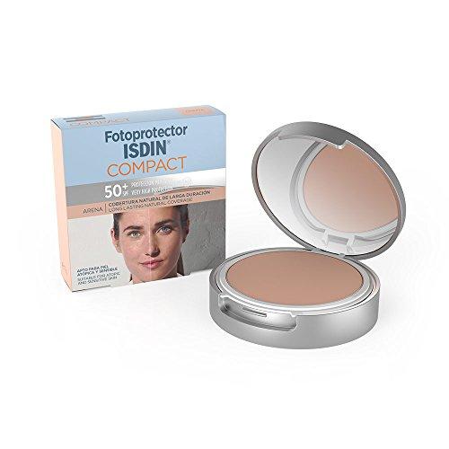 Fotoprotector ISDIN Compact SPF 50+ Arena - Protector solar facial, Cobertura natural de larga duración, Apto para piel atópica y sensible, 10 g