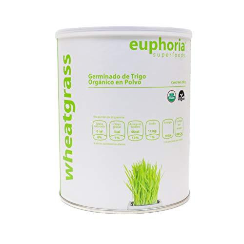 Euphoria Superfoods, Wheatgrass Germinado de Trigo Orgánico en Polvo, 250 g