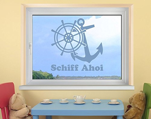 Klebefieber Fenstertattoo Schiff AHOI B x H: 80cm x 80cm Farbe: blau