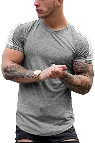 COOFANDY Men's Fashion Gym Workout Shirt Short Sleeve Slim Fit Jogging T-Shirt Grey L