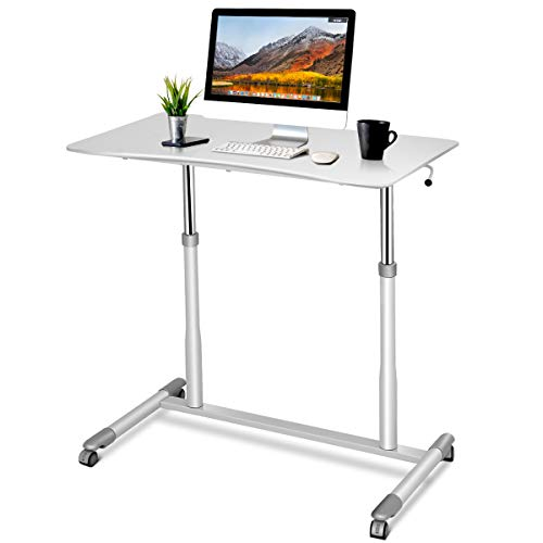 Tangkula Standing Desk Computer Desk, Height Adjustable Desk Sit Stand Desk with 4 Movable Wheels, Portable Writing Study Laptop Table of Iron Pipe Frame, MDF, PVC Tabletop - White