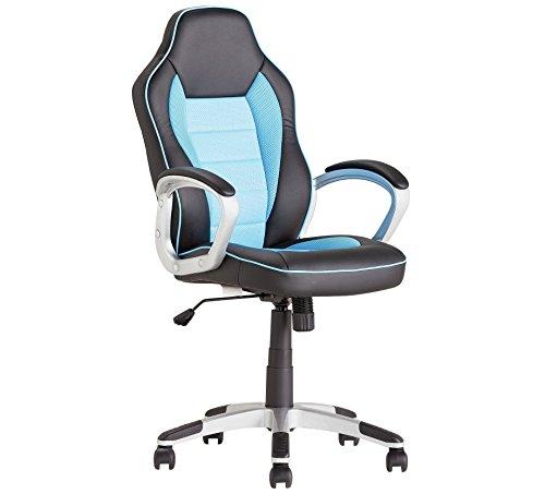 Silla giratoria para oficina, escritorio o juegos, de piel sintetica, respaldo curvado, diseno ergonomico