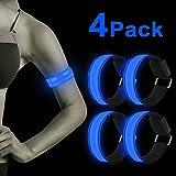 LED Armband, 4 Stück Reflective LED leucht Armbänder Lichtband Kinder Nacht Sicherheits Licht für...