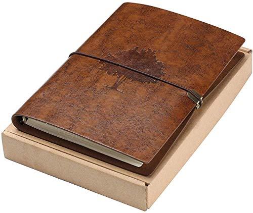A5 Notizbuch Leder-Vintage Buch, Nachfüllbares Reisejournal,Leder Tagebuch, Reisetagebuch, Spiralblock mit Linie für Frauen Männer (Brauner Baum)