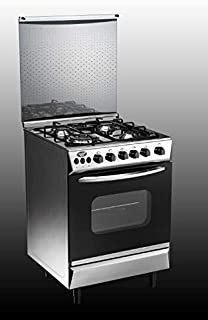 Nikai 60 X 60 cm, 4 Gas Burners Free Standing Gas Cooking Range, Silver Color with Glass Lid on Top - U6068FSE1, 1 Year Wa...