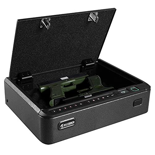 BILLCONCH Gun Safe, Pistol Safe, Biometric Gun Safe, Gun Safes for Pistols, LCD Menu Display and Voice Guide, Smartphone ID/PIN Easy Setup, Optimized Capacity for 2 Full-size Pistols