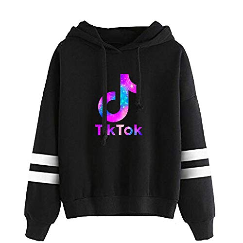 Unisex TIK TOK trui met lange mouwen Print Hooded Muzikaal Style for Adults Loose Long Tops