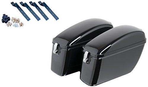 Customacces AMZ006N Alforjas Rígidas American Model ARS006N con Soportes Universales KF0002N, Negro, Única